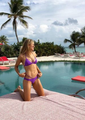 Genie Bouchard in Purple Bikini on vacation in the Bahamas