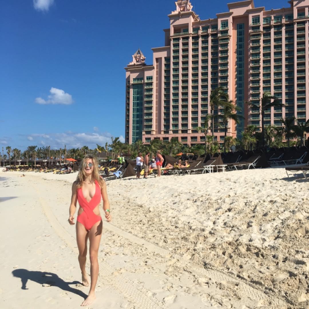 Genie Bouchard on vacation in Nassau