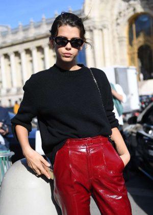 Georgia Fowler - Arrives at Elie Saab Fashion Show in Paris