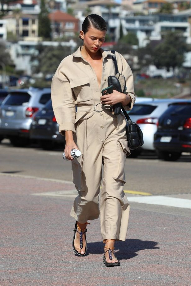 Georgia Fowler - In a beige jumpsuit while out in Bondi