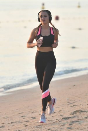 Georgia Harrison - Out for a jog at a beach in Dubai