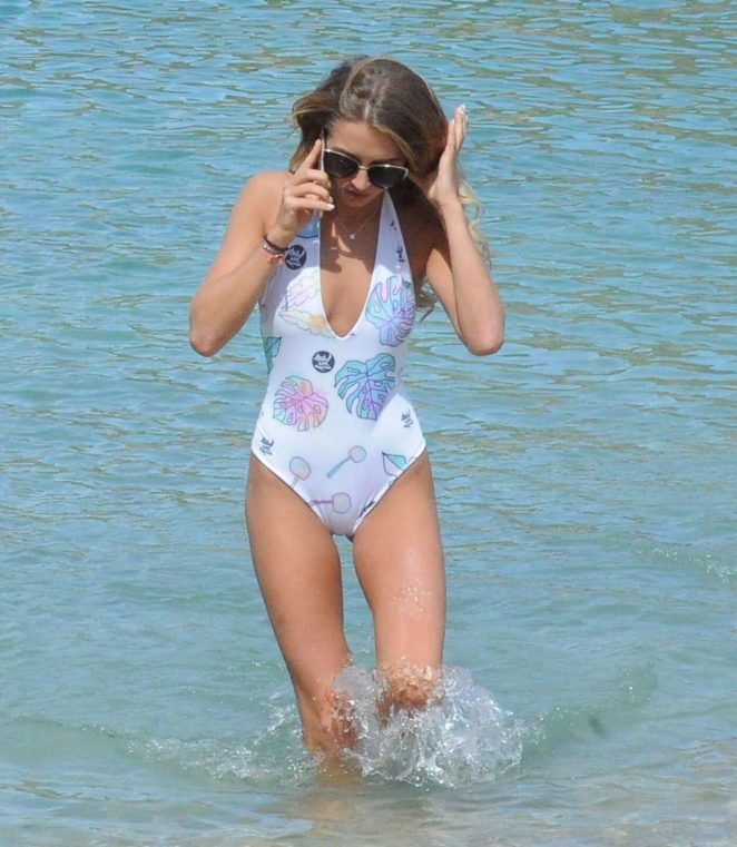 Georgia Harrison - Swimsuit Candids While Enjoying a Day at the Beach in Ibiza