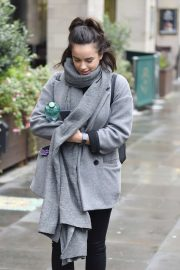 Georgia May Foote in Grey Coat - Out and about in Manchester