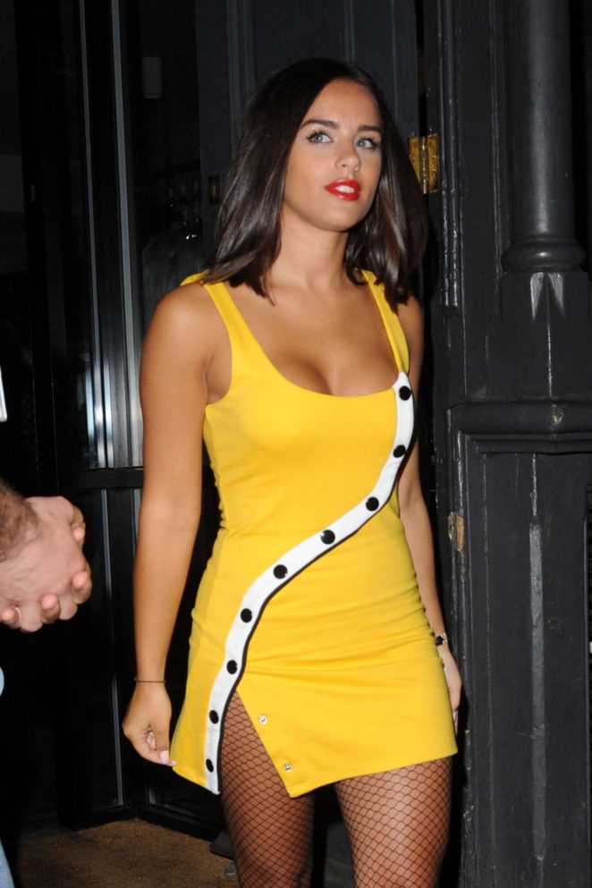 Georgia May Foote in Yellow Mini Dress - Night out in London