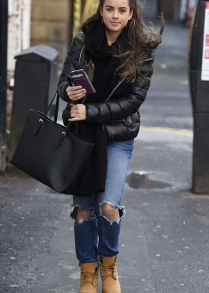 Georgia May Foote in Ripped Jeans Out in Manchester