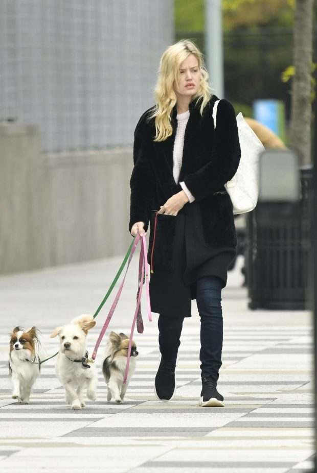 Georgia May Jagger - Walking her dogs in New York