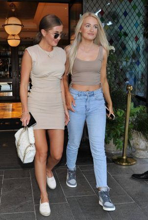Georgia Steel with her Friend Caitlin - Seen as they leave The Ivy in Manchester