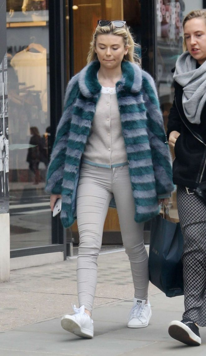 Georgia Toffolo in Fur Coat out in Chelsea