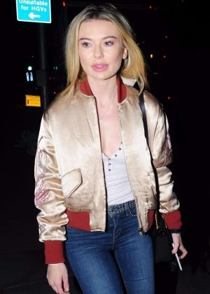 Georgia Toffolo out for dinner in London