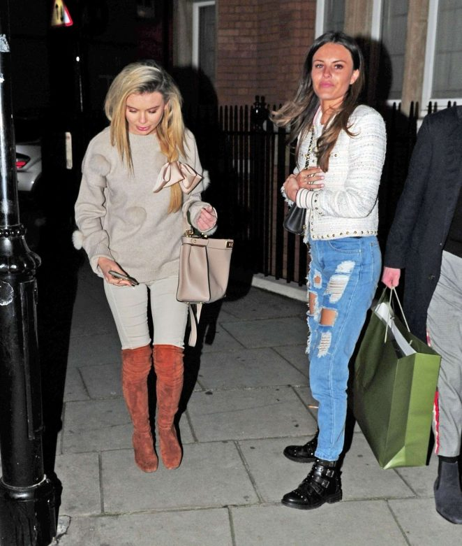 Georgia Toffolo with friends at Harrods in London