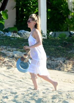Georgie Thompson in White Dress on Honeymoon in Caribbean