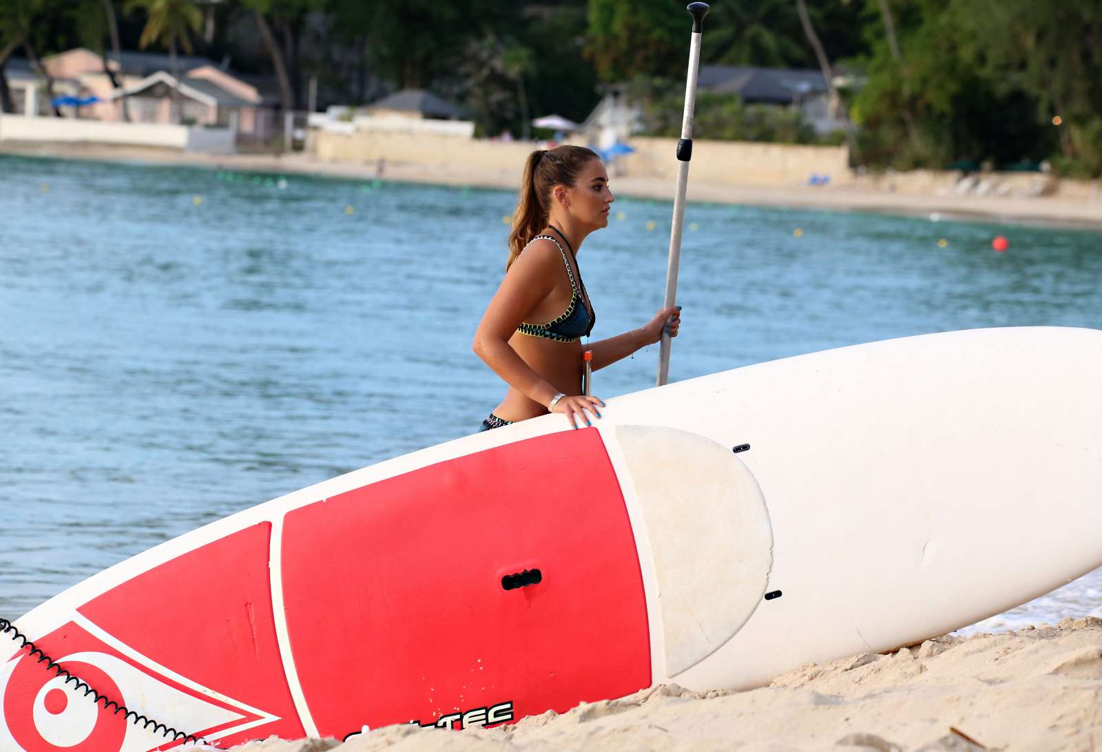 Georgina Leigh Cantwell in Bikini Paddleboarding in Barbados Pic 7 of 35