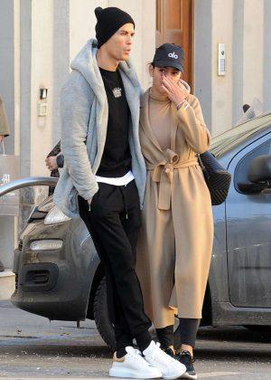 Georgina Rodriguez and Cristiano Ronaldo - Leaving the Gran Madre di Dio church in Turin