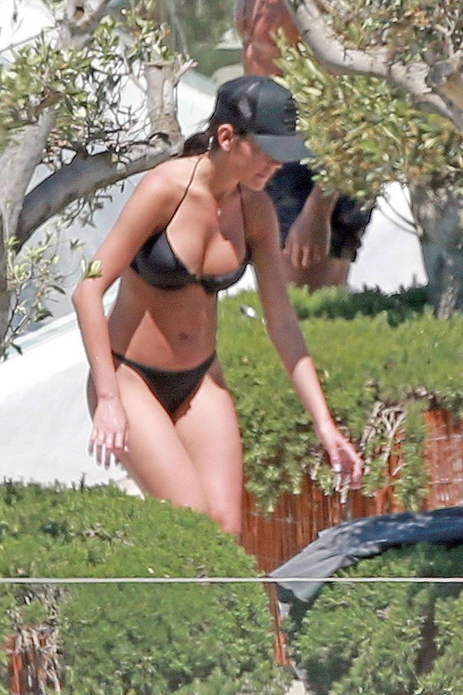Georgina Rodriguez in Black Bikini in Ibiza