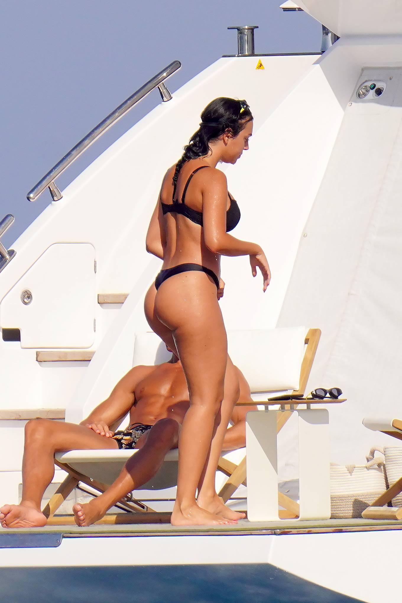 Georgina Rodriguez - In black bikini on a yacht in St. Tropez