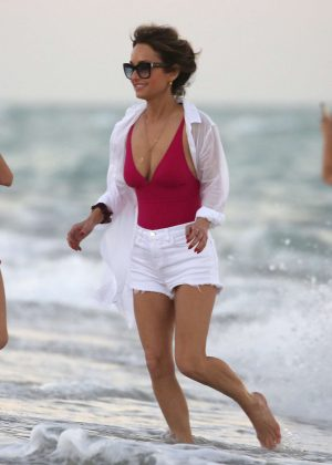 Giada De Laurentiis in Pink Swimsuit and Shorts on the beach in Miami