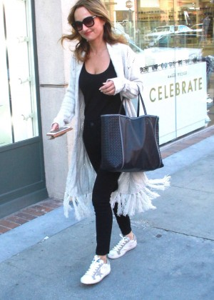 Giada De Laurentiis in Tights Shopping in Beverly Hills