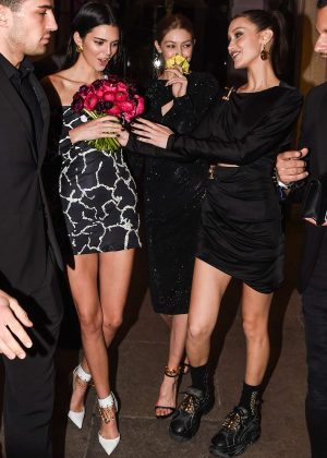 Gigi and Bella Hadid and Kendall Jenner - Leaving the Versace Dinner in Milan