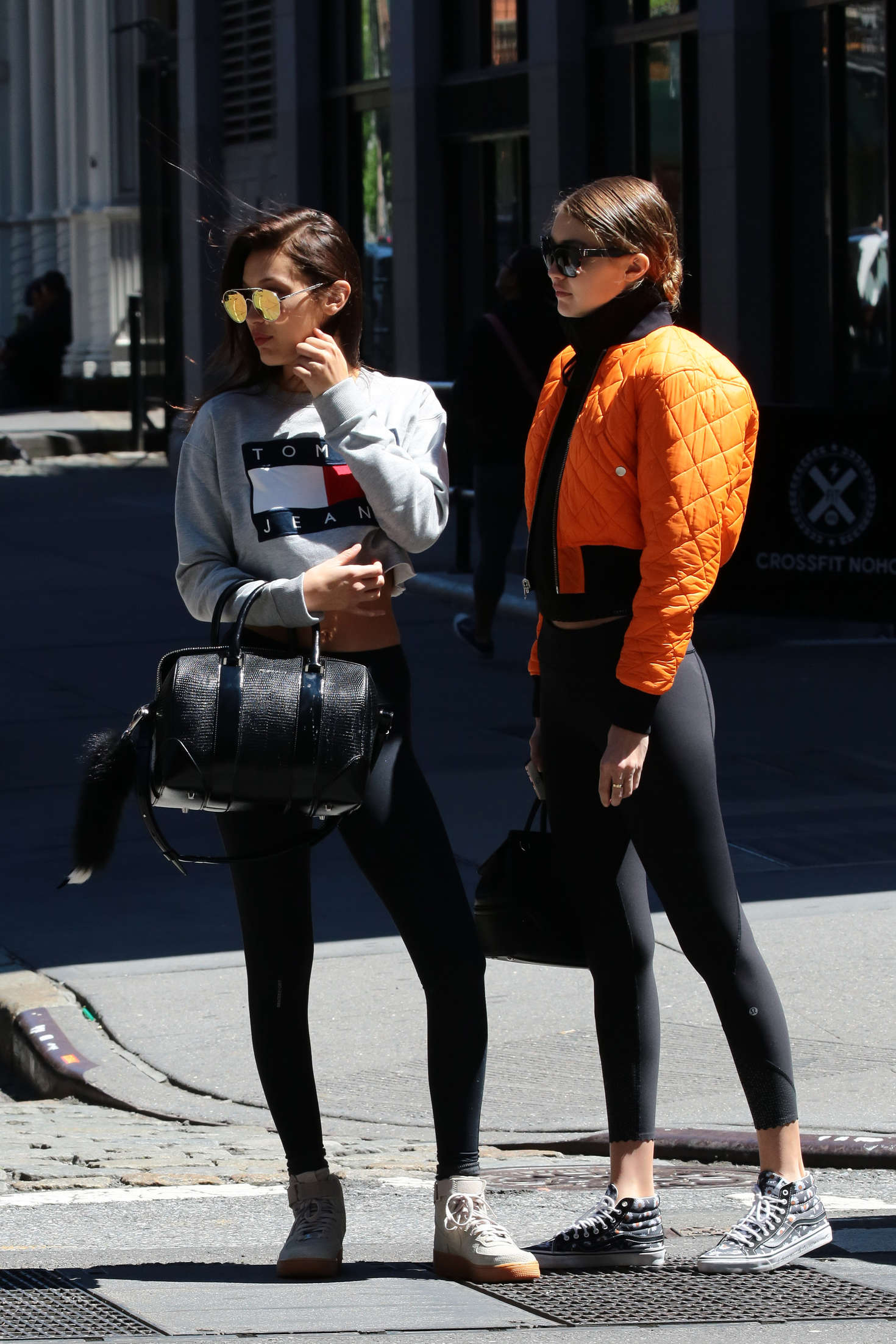 Gigi And Bella Hadid In Tights Out In Soho