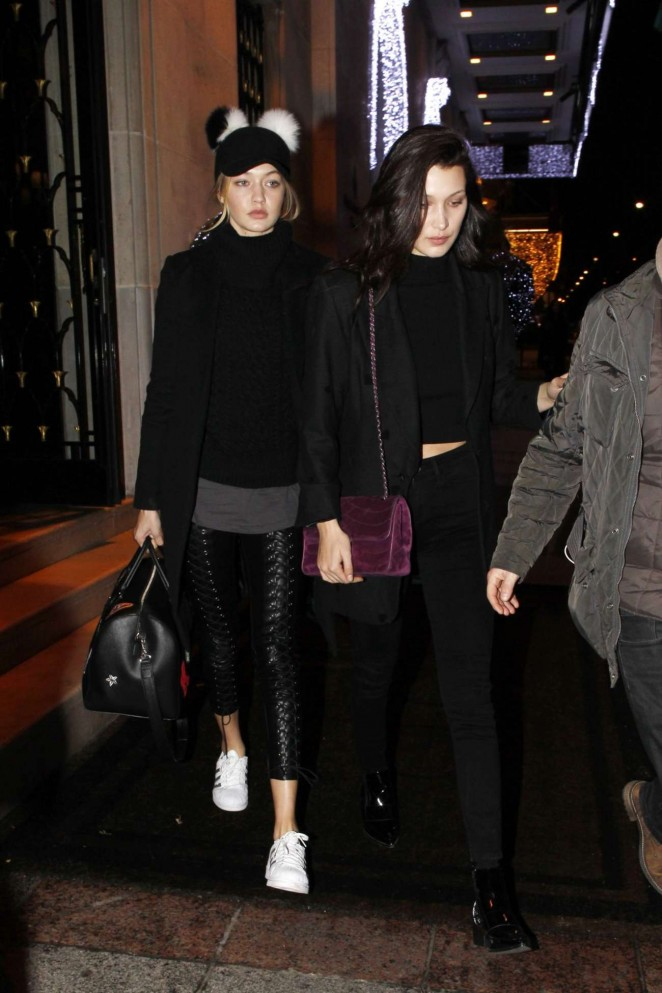 Gigi and Bella Hadid Night Out in Paris