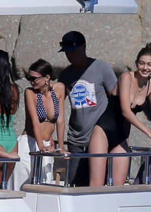 Gigi Hadid and Emily Ratajkowski in Bikini on a boat in Mykonos