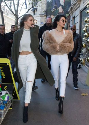 Gigi Hadid and Kendall Jenner - Leave their hotel in Paris