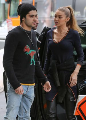 Gigi Hadid and Zayn Malik Arriving at an office in Los Angeles