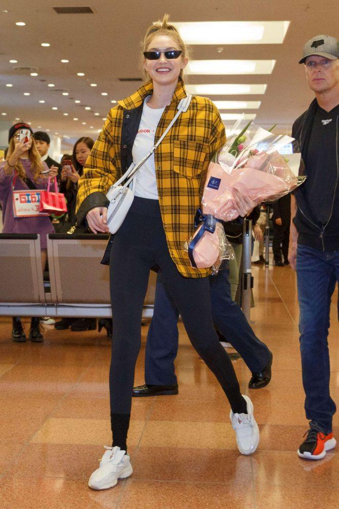 Gigi Hadid - Arrives at Haneda International Airport in Tokyo