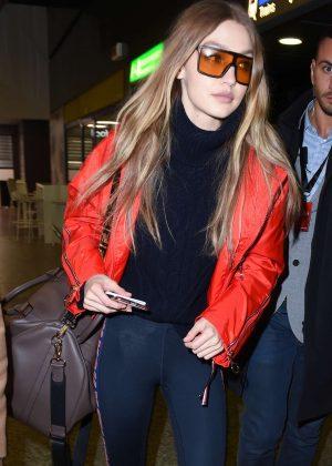 Gigi Hadid - Arrives at Malpensa Airport in Milan