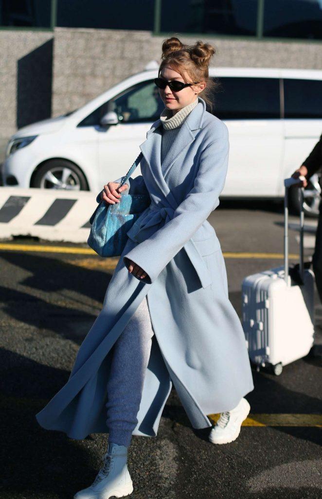 Gigi Hadid - Arrives in Milan