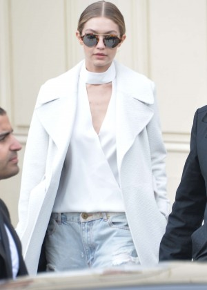 Gigi Hadid Arriving at her hotel after the Chanel Fashion Show in Paris