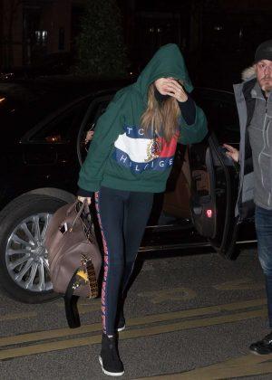 Gigi Hadid - Arriving at her hotel in Paris