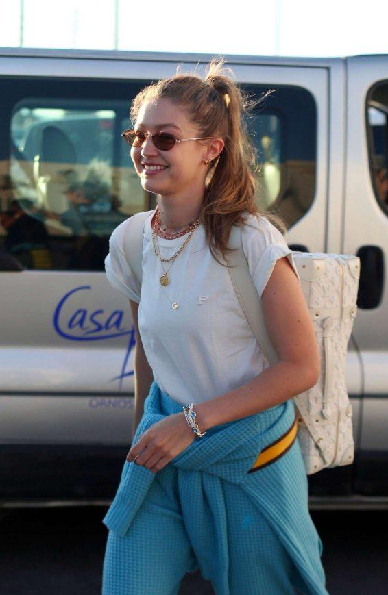 Gigi Hadid - Arriving for sister Alana Hadid's birthday celebrations in Mykonos