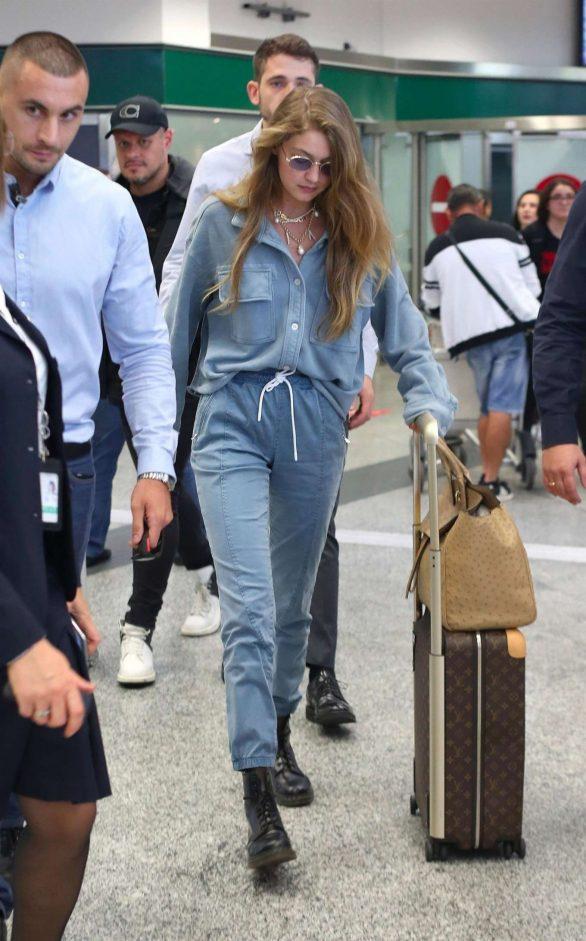 Gigi Hadid - Arriving in Denim at Milan Airport