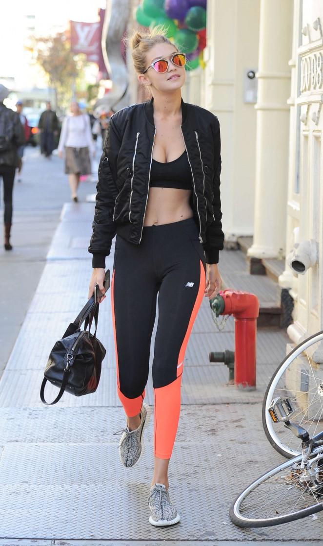 Gigi Hadid 2015 : Gigi Hadid in Sports Bra and Tights -05