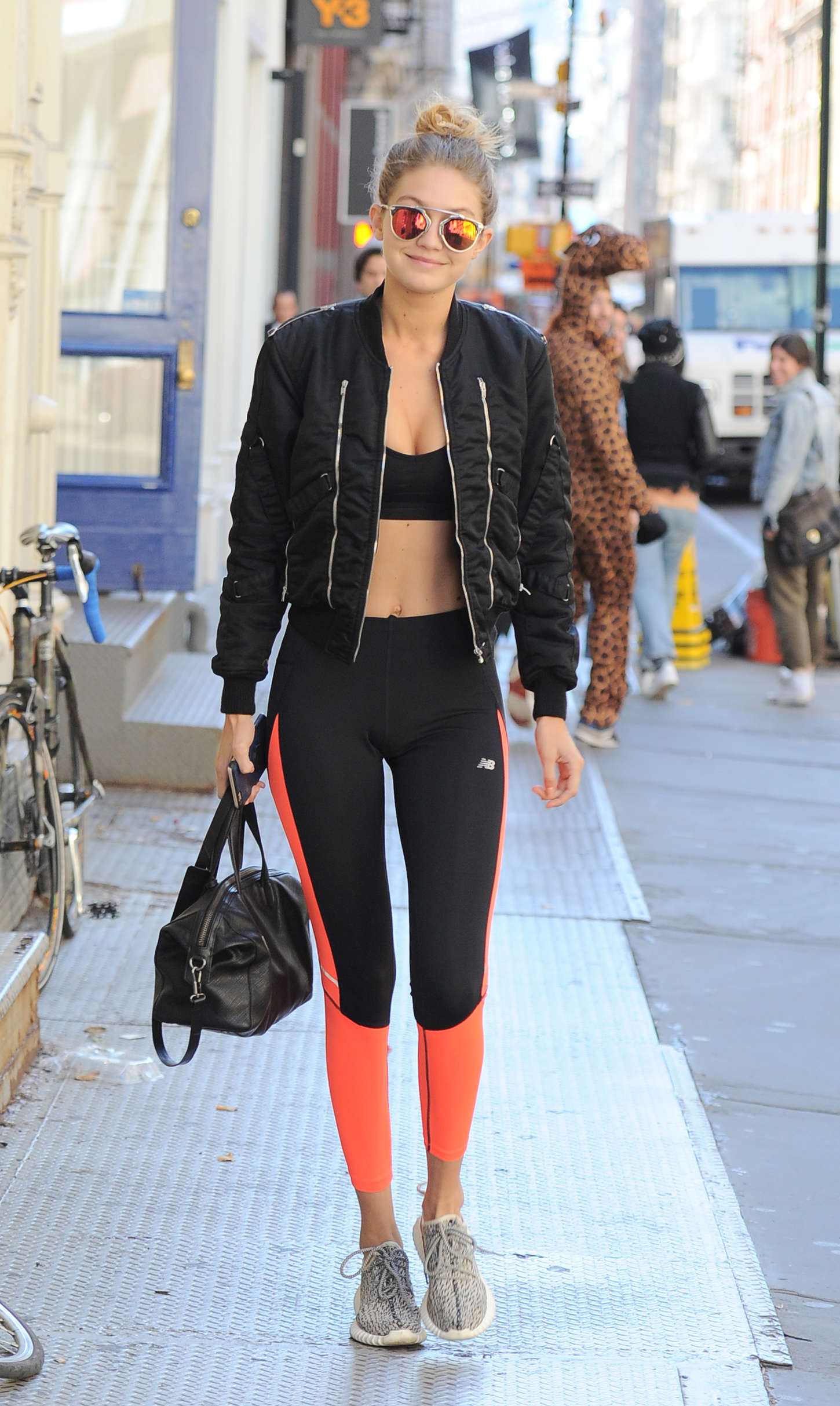 Gigi Hadid in Sports Bra and Tights -09 - GotCeleb