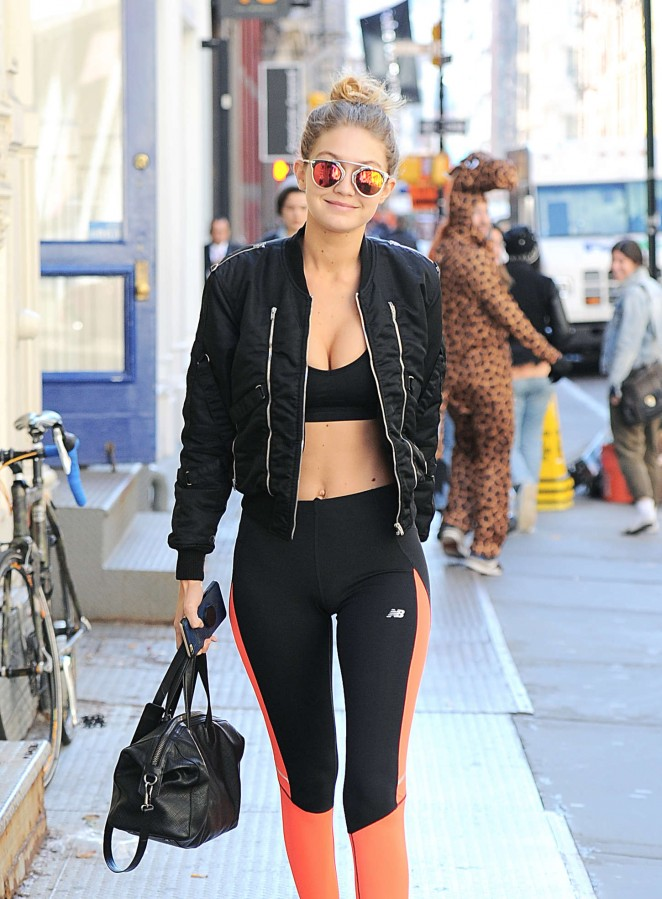 Gigi Hadid in Sports Bra and Tights out in NYC