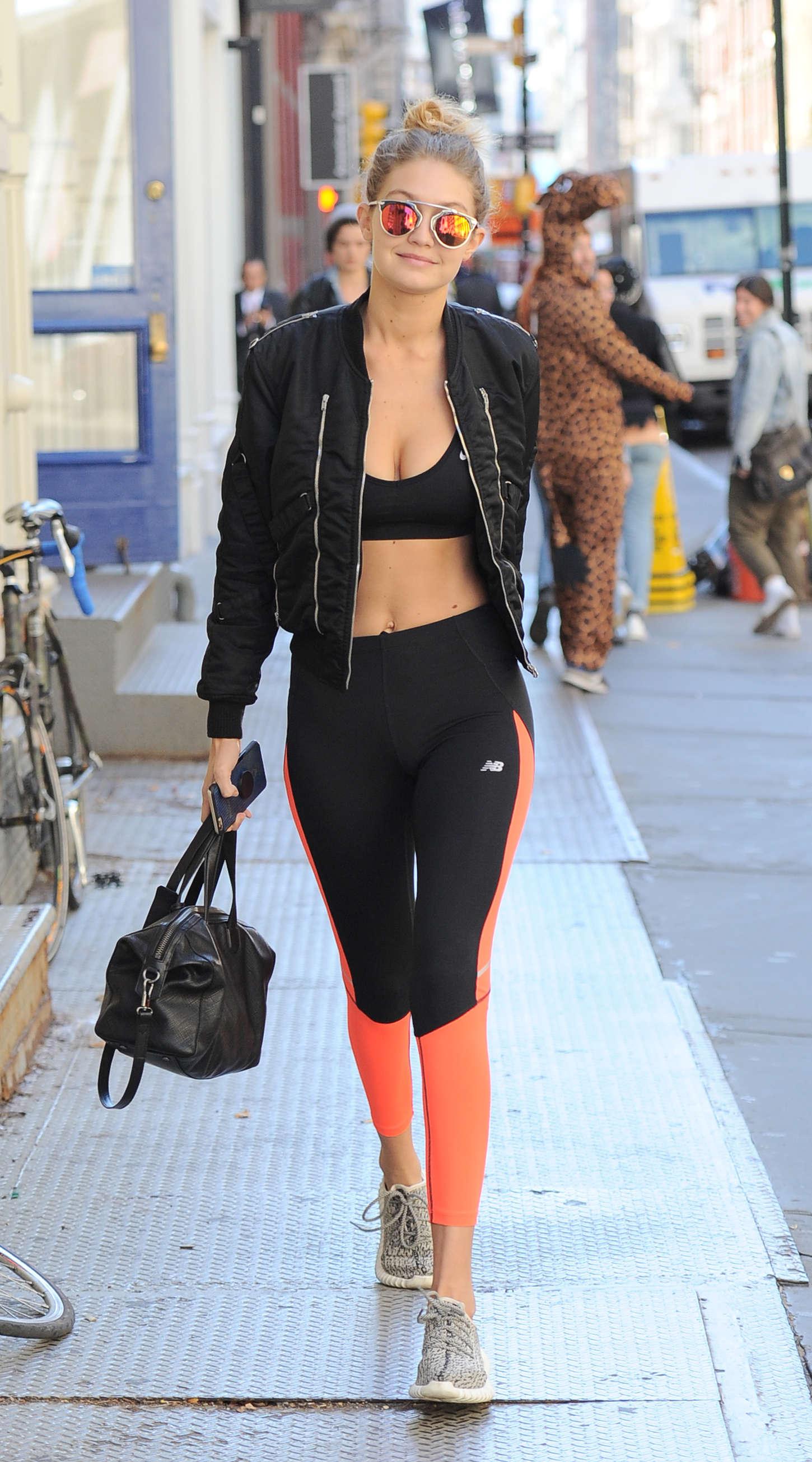 Gigi Hadid in Sports Bra and Tights -13
