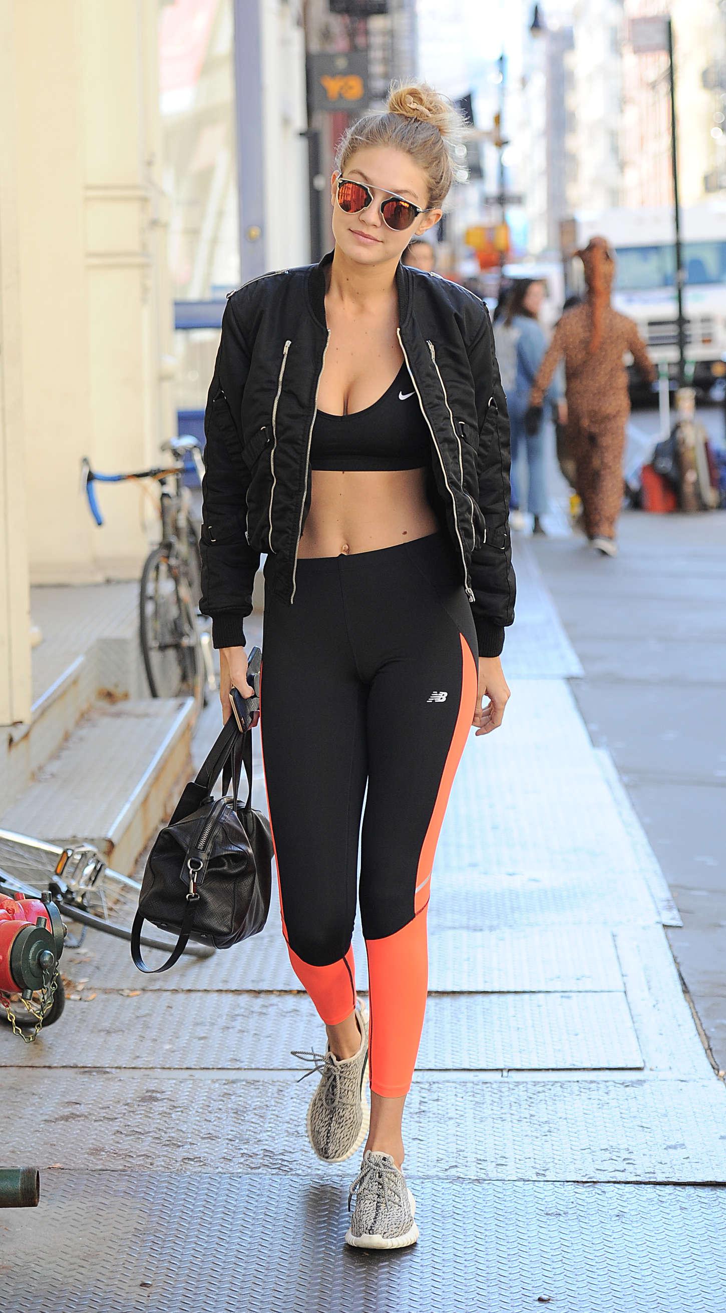 Gigi Hadid 2015 : Gigi Hadid in Sports Bra and Tights -14