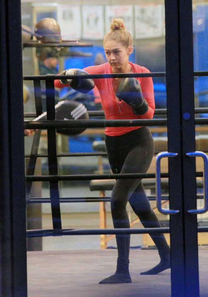 Gigi Hadid at a boxing class in New York City