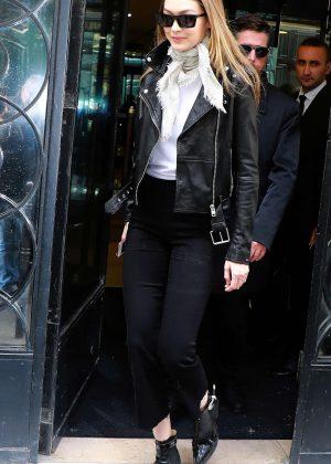 Gigi Hadid at Chanel store in Paris