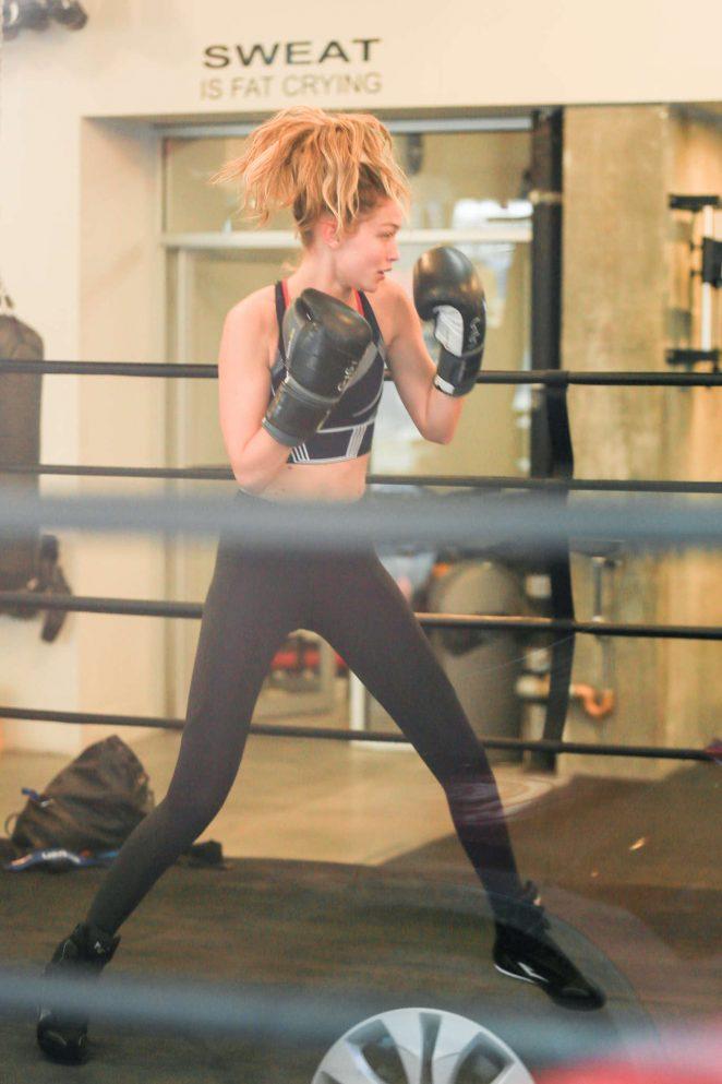 Gigi Hadid at Gotham Gym in New York