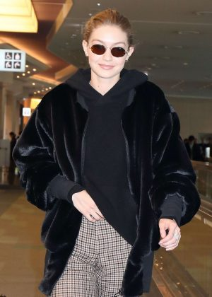 Gigi Hadid at Haneda International Airport in Tokyo