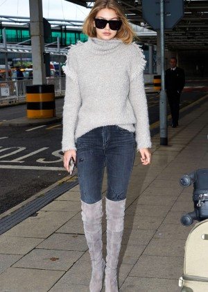 Gigi Hadid at Heathrow Airport in London