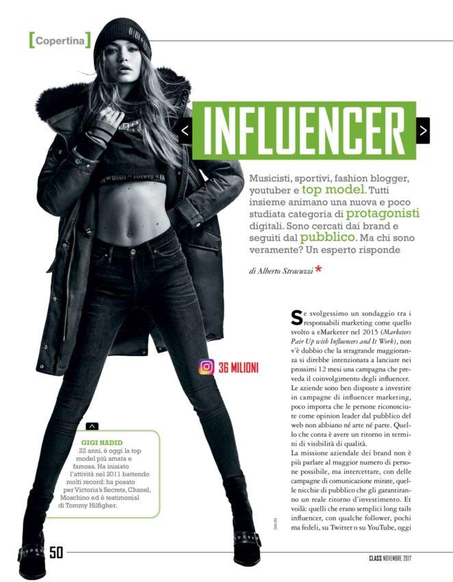 Gigi Hadid – Class Italy Magazine (November 2017)