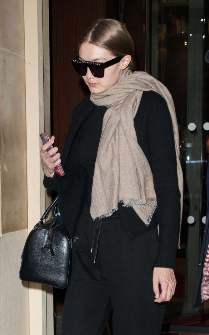 Gigi Hadid - Exit of the Royal Monceau in Paris