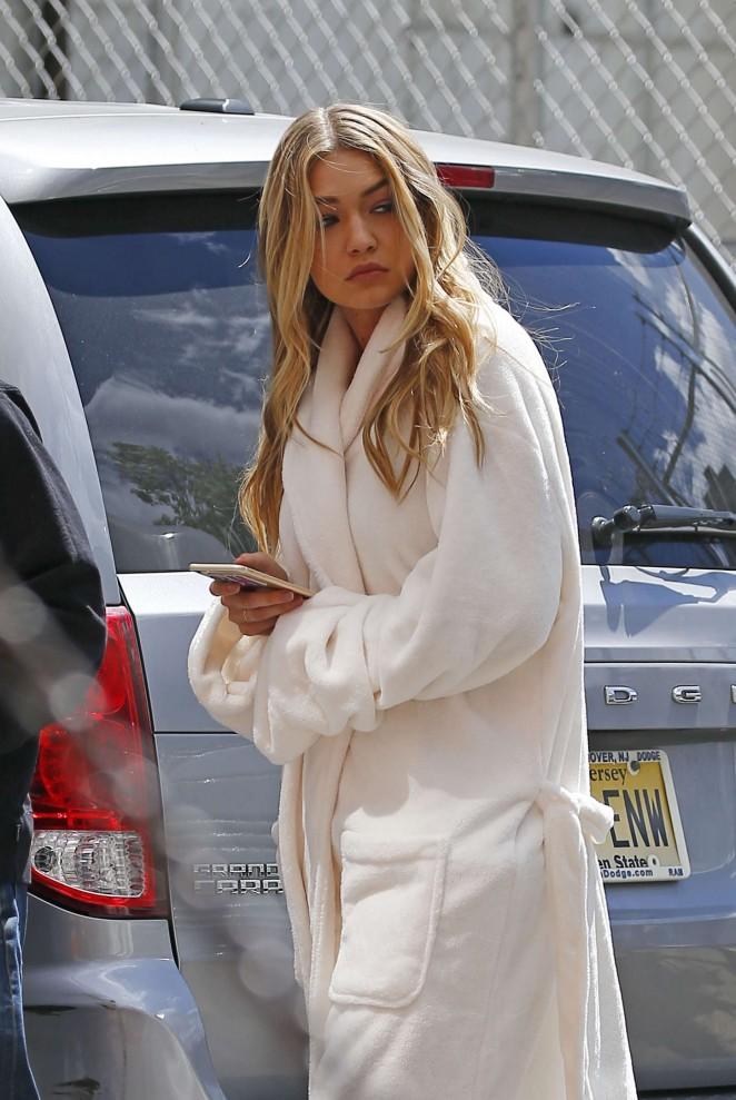Gigi Hadid in Bathrobe Heading to a photoshoot in Brooklyn