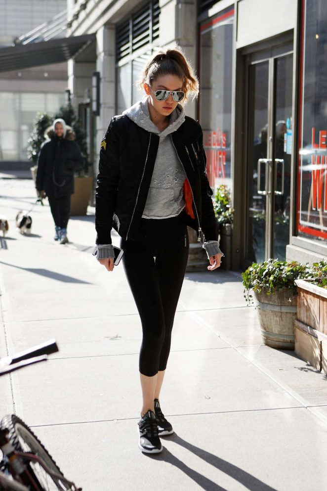 Gigi Hadid - Heads to the gym in New York
