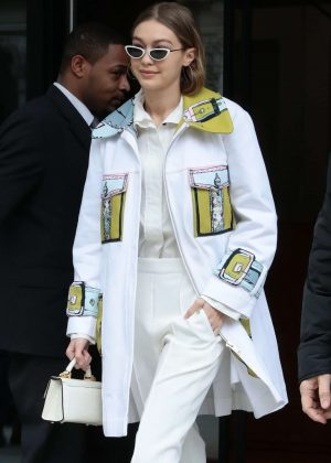Gigi Hadid in a white and yellow outfit in NYC