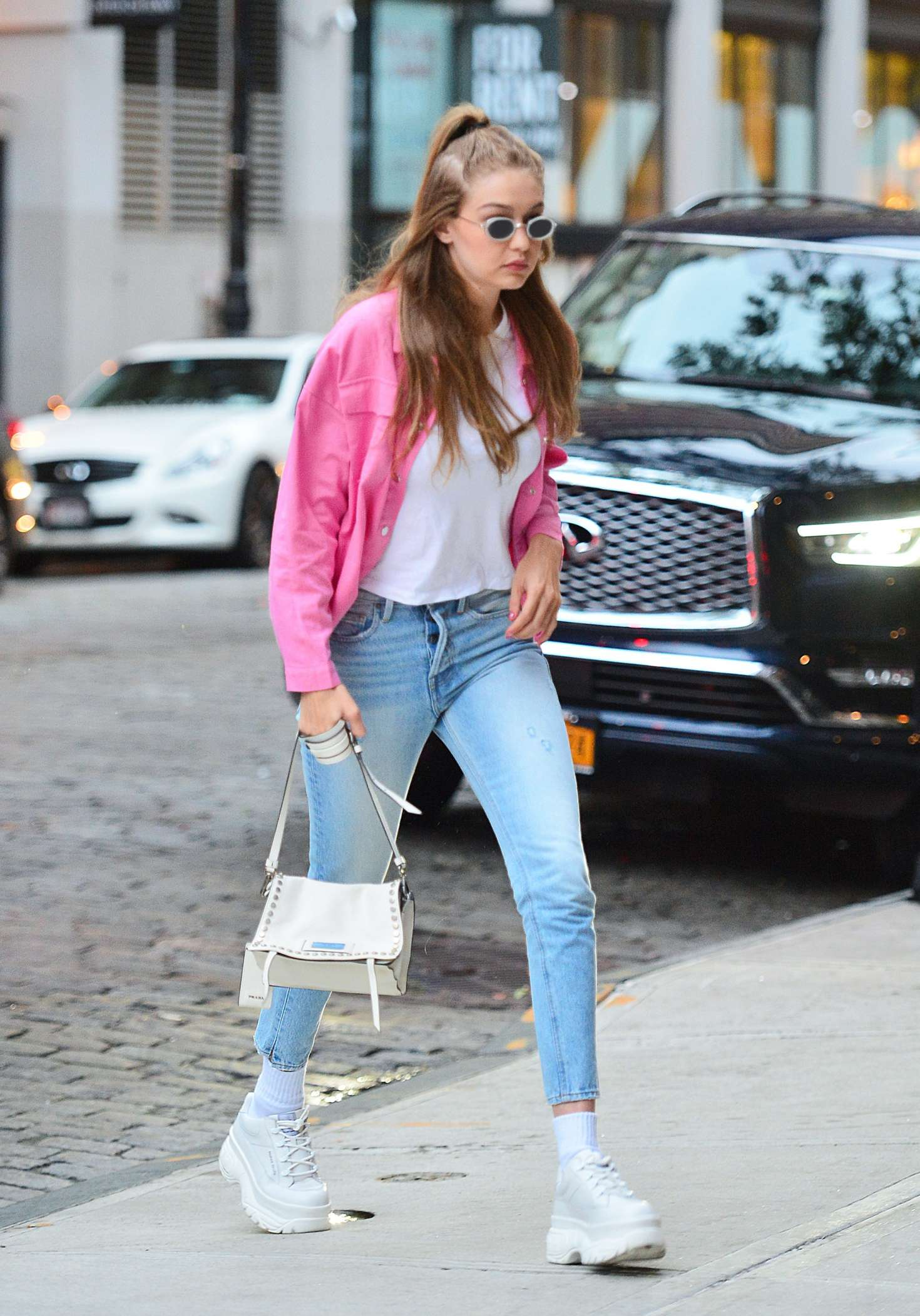 Gigi Hadid in all denim out in New York City